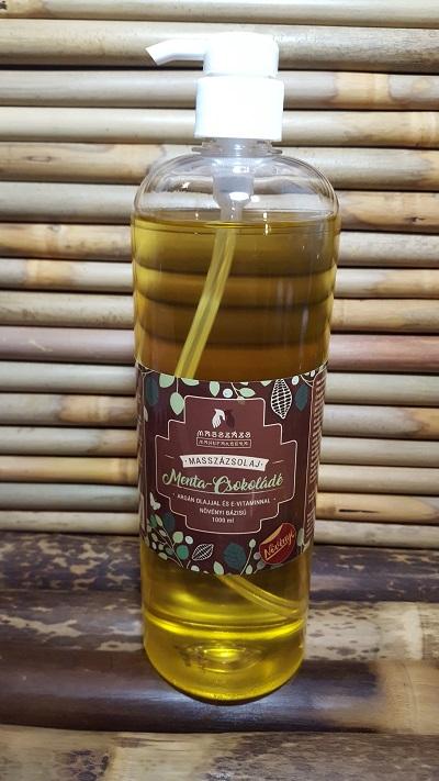 MENTA-CSOKOLÁDÉ.  Masszázsolaj ~ argán olajjal és E-vitaminnal.  1000 ml. (MASSZÁZS MANUFAKTÚRA)