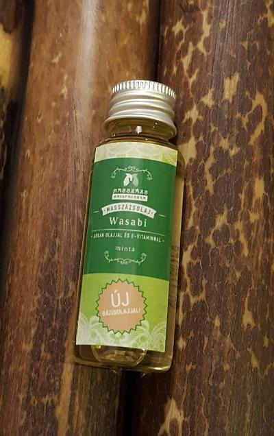 """TERMÉKMINTA WASABI  masszázsolaj 20 ml.( Ricinusolaj + kukoricacsíra olaj + argánolaj + hidegensajtolt napraforgóolaj +,,E"""" vitamin ) Paraffintól mentes növényi olajkeverék - MASSZÁZS MANUFAKTÚRA -"""